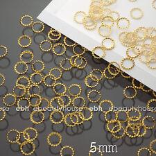 200 PCS 5mm 3D Gold Metal Nail Art Decorations Round Frame #EG-235C