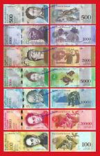 VENEZUELA FULL SET 500 1000 2000 5000 10000 20000 100000 Bolivares 2016-2017 UNC