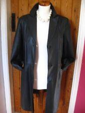 Ladies M&S black fine leather JACKET COAT UK 12 10 blazer long length goth