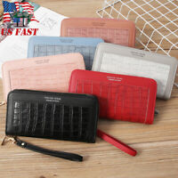 Women Leather Wallet with Wristlet Zip Around Clutch Large Travel Long Purse USA