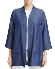 Eileen Fisher Drapey Tencel Grid Denim Kimono Jacket Size S NWT $278