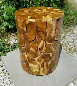 Teak Round Side Table/Stool/Rustic Wood/Hand Crafted/Lamp Table/Plant Stand