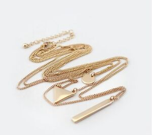 FOREVER 21 Women Bohemian Gold color 3 Layers Bar Geometry Simple Long Necklace