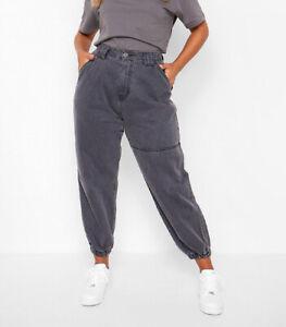 Boohoo High Rise Denim Jeans Joggers Elasticated Cuff Grey NWT W28 L27.5