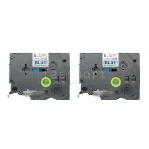 """2pk Black on Blue Tape Label Compatible for Brother P-Touch TZ TZe 511 6mm 1/4"""""""