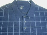George Golf Shirt Adult 3XL XXXL Blue Striped Short Sleeve Casual Collared Mens*