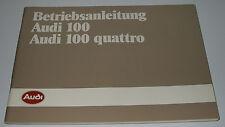Betriebsanleitung Audi 100 Typ 44 C3 / Audi 100 C 3 Quattro 5 Zylinder 02/1985!