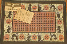 "Cat Place Mat Halloween Jack-O-Lanterns Black Cats Woven 13"" x 19"" Washable New"