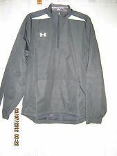NWT Under Armour White Placket Solid Black Polyester Lacrosse Golf Jacket M