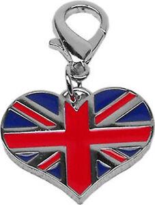 Lobster Claw Enamel British Heart Collar Charm / Zipper Pull