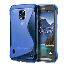 Blue Gel Rubber TPU Case Cover Skin For Samsung Galaxy S5 Active,G870