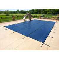 PoolTux 16' x 36' Rectangle Mesh Safety Pool Cover - Blue Mesh - 15/3 Warranty