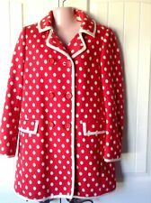 Missoni Coat Red Sz 4 White Polka Dot Double Breasted Cotton Knit Made in Italy