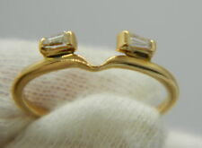 Vintage estate 14kt yellow gold & diamond wedding ring solitaire hugger 1.08g