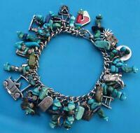 SOUTHWESTERN Sterling Silver, Turquiose, Lapis Lazuli Charm Bracelet 70.3 Grams