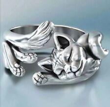 Anello gatto regolabile argento placcato / cat ring adjustable plated silver