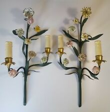 Vintage Wall Sconces French Shabby Bronze Barbotine Porcelain Flowers
