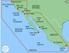 Garmin BlueChart California to Mexico Mus021R Data Card Marine Chart Map Chip