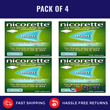 4x Nicorette Icy White Chewing Whitening Gum 4mg - 105 Pieces