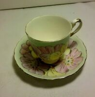 Vintage Tuscan  Cup and Saucer ~  mint green with flowers