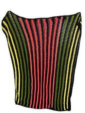 "Vintage Handmade Striped Afghan Red & Green Colored Blanket Afgan Throw 50"" X 74"