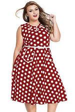 Women's Plus Size Clothing 6X Crimson Red Retro Polka Dot Dress SEXY Sundress