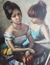 STUNNING MID CENTURY IMPRESSIONIST 2 WOMAN WELL LISTED ARTIST VENTOSA 1919-1966