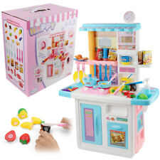 Kids Kitchen Cooking Food Pretend Play Toy Set Real Water Open Doors Light Sound