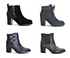 NEW LADIES LOW MID HEEL BLOCK ZIP CASUAL BIKER CHELSEA WOMENS ANKLE BOOTS SIZE