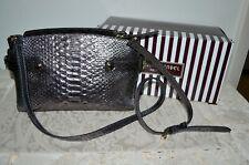 Henri Bendel Carlyle Micro Snake Leather Satchel Handbag Brown