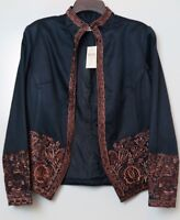 NWT Coldwater Creek Black w/Embroidered Brown Border Jacket Size 10 MSRP $99.95
