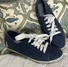 Womens Nautical Navy Blue Lace Up Canvas Boat Shoe Sneakers 7.5