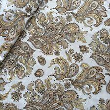 0,5m Stoff Baumwolle Satin mit Paisley Muster in braunen Tönen br.150cm