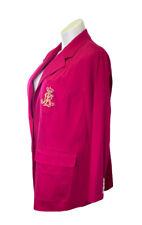 Ralph Lauren LRL Pink Blazer Jacket Plus Sz 20 2XL Royal Breast Logo Crown Lined