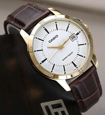 Casio Mens MTP-V004GL-7A Gold Analog Brown Leather Band Day Date Watch New