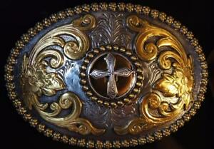 Nocona CROSS  Oval Belt Buckle Gold and Silver Tone M & F Western  3756645