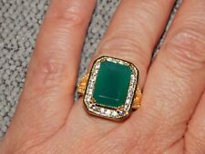 VERDE ONYX & NATURAL WHITE CAMBODIAN ZIRCON RING-SIZE M-8.250CTS-WITH 14K GOLD