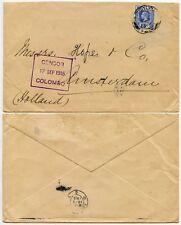 CEYLON PERFIN WW1 CENSORED to NETHERLANDS 17 SEP 1915