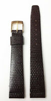 FRENCH VINTAGE 16MM BROWN GENUINE LEATHER STRAP BAND LIZARD PRINT NOS FRANCE