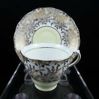 """COLCLOUGH ENGLAND VINTAGE #6492 GOLD FLORAL & YELLOW 2 5/8"""" FOOTED CUP & SAUCER"""