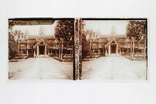 Cambodge Ruines d'Angkor Plaque de verre stereo 6x13cm Vintage ca 1910
