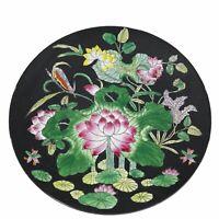 """Vintage CPC Macau Hand Painted Porcelain Matte Black Pink Lotus Plate 10.25"""""""