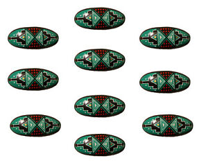 10 Pcs Southwest Painted Resin Curved Oval Bracelet Pendant Craft Jewelry Charms