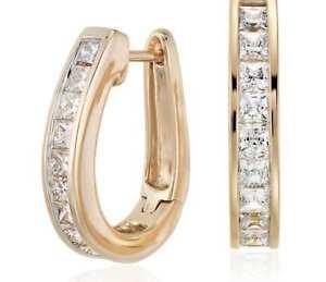 1.50 Cts Princess Cut Natural Diamonds Hoop Earrings In Solid Hallmark 18K Gold