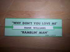 """1 Hank Williams Why Don't You Love Me Jukebox Title Strips Cd 7"""" 45Rpm Records"""