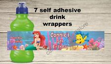 7 Personalised Little Mermaid Self Adhesive Fruit Shoot Wrappers Party Bag fille