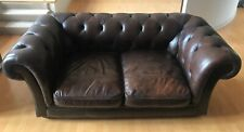 Brown Leather Chesterfield 2 Seater Sofa. Free Delivery 🚚