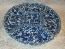 """TAKAHASHI 5 pc Divided Serving Dish ~ Blue & White Floral 14"""""""