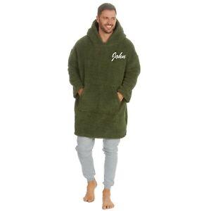 Personalised Mens Blanket Hoodie Oversized Big Fleece Sweatshirt Pyjama Pjs Top