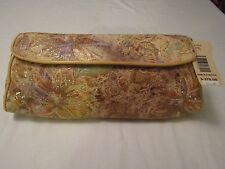 NWT Brahmin Monique Embroidered Crackle Leather Clutch Shoulder Bag Very Rare